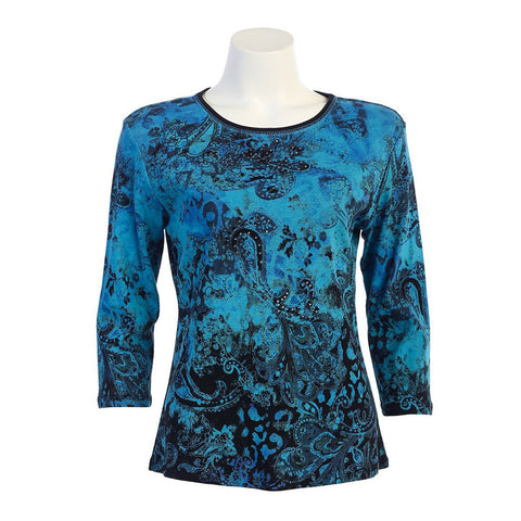 "Jess & Jane ""Blue Ocean"" Print Cotton Top in Blue/Black 14-941-BK"
