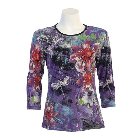 "Jess & Jane ""Dragonflies"" Floral Print Top in Purple/Multi - 14-946-BLK - Size 3X Only"
