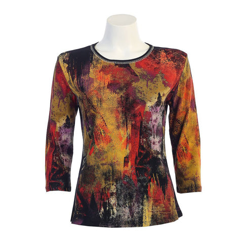 "Jess & Jane ""Fall Foliage"" Top in Black/Multi  14947BK"