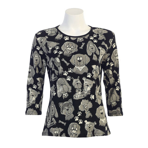 "Jess & Jane Cotton ""Dog Medley"" Top in Black 14950BK"
