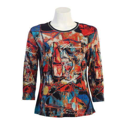 "Jess & Jane ""Wine Art"" Print Top in Multi 14-981BK - Sizes S & 3X Only"