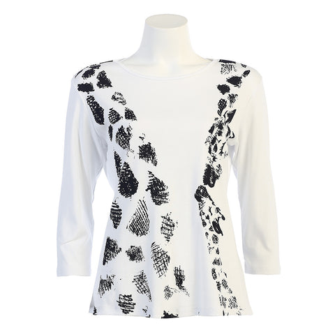 "On Special ♥ J & J ""Giraffes"" Top in Black/White 14-997WT - Sizes S - 1X Only"