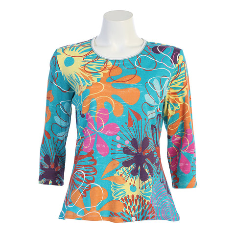"Jess & Jane ""Solara"" Floral print Top in Multi 14-1186WT"