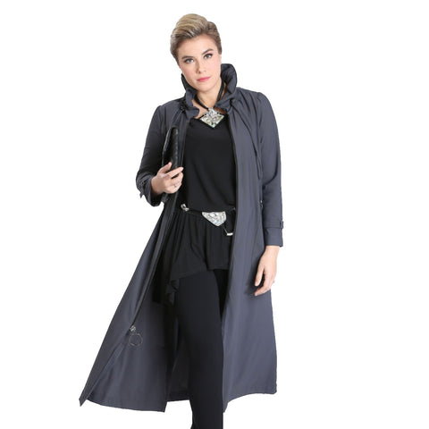 IC Collection Long Zip-Front Parachute Jacket in Charcoal - 1421J-CCL