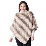 Fabulous Furs Soft Ruched Poncho - Truffle Chinchilla - 14-248-CHN