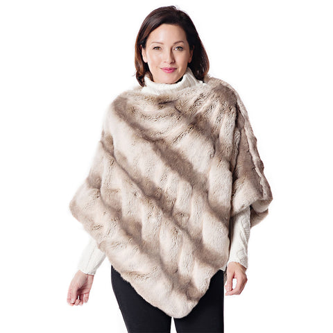 Fabulous Fur Truffle Chinchilla Faux Fur Poncho - 14248-CHN
