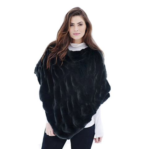 Fabulous Furs Soft Ruched Poncho in Black Onyx Mink  - 14-248-ONX