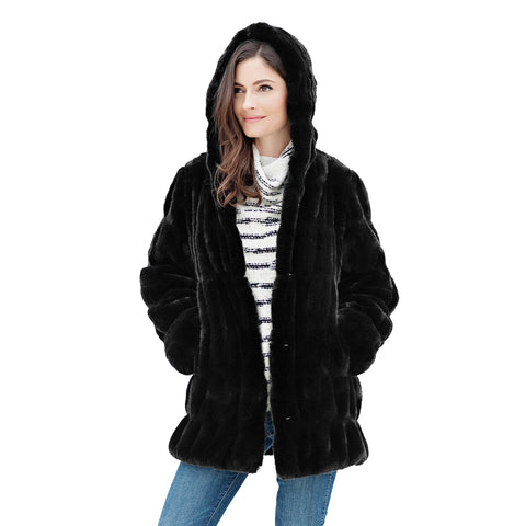 Fabulous Fur Onyx Mink Hooded Jacket - 14284-ONX