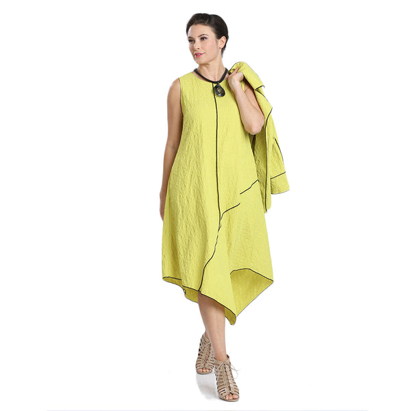 IC Collection Pucker Knit Midi Dress in Lime - 1441D-LIME - Size M Only