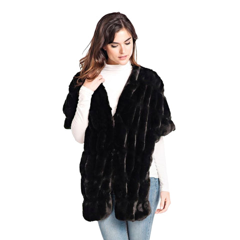 Fabulous Fur Onyx Mink Faux-Fur Pocket Shrug - 14436-ONX