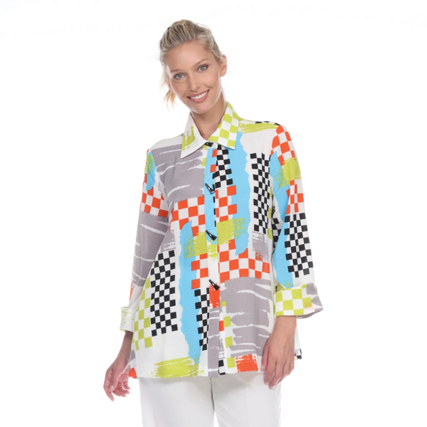 Moonlight Checkered High-Low Blouse in Orange/Multi - 1471
