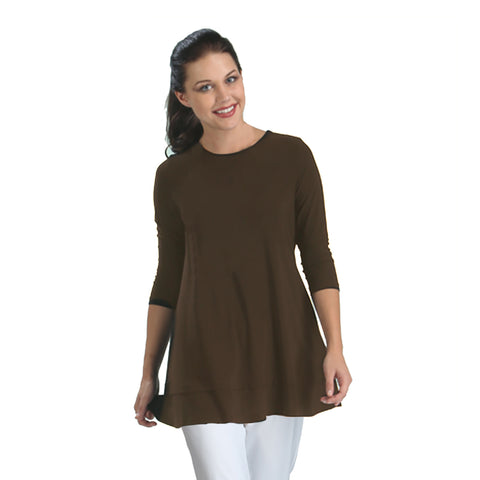 IC Collection Stretch Knit Basic Tunic in Brown - 1484-BRN