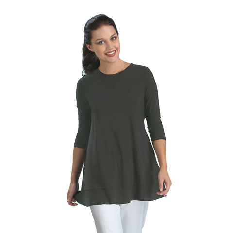 IC Collection Stretch Knit Basic Tunic in Charcoal - 1484-CHC