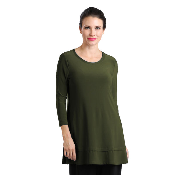 IC Collection Stretch Knit Tunic in Olive - 1484-OLV