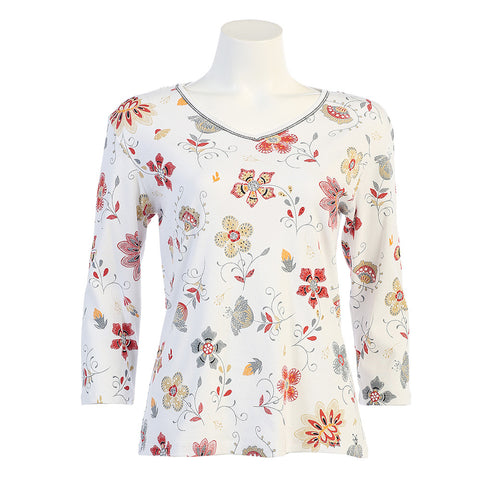 "Jess & Jane ""Flower Field"" V Neck Cotton Top in White Multi 15-1027-WT"