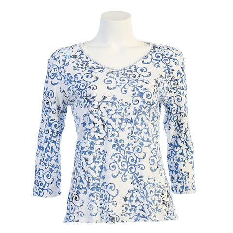 "Jess & Jane ""Victoria Top in White/Blue 15-1028WT"
