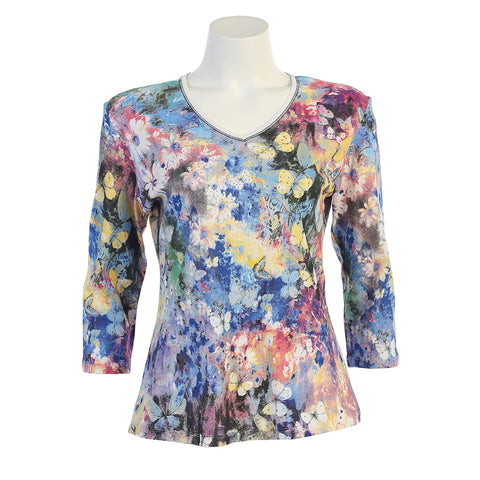 "Jess & Jane ""Teeming"" Floral Print V-Neck Top in Multi 15-1044WT -"