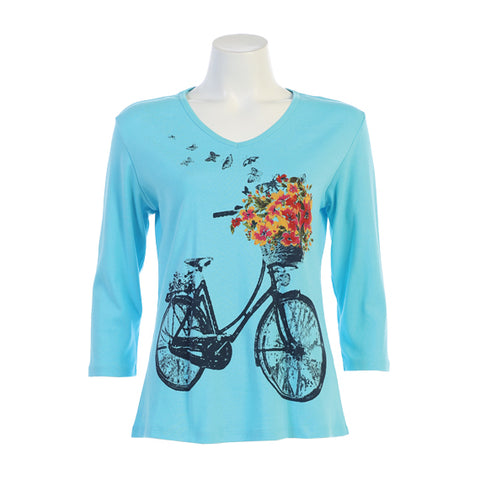 "Jess & Jane ""Bike Ride"" & Blooms V-Neck Top in Bahama Blue/Multi  - 15-1056BH"