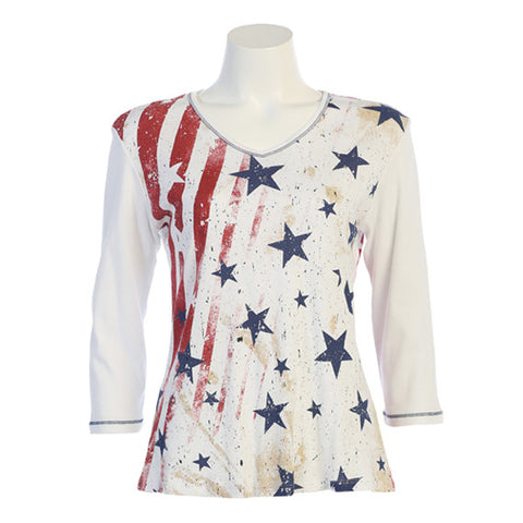 "Jess & Jane ""Stars and Stripes"" V-Neck Cotton Top in Red, White & Blue - 15-1060"