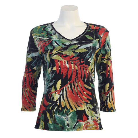 "Jess & Jane ""Tropics"" Top in Black 15-1091BK"