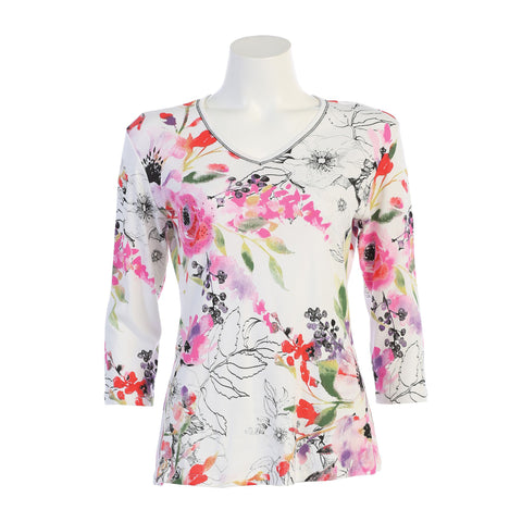 "Jess & Jane ""Evening Sonnet"" Floral Print V -Neck Top in White/Multi - 15-1106-WT"