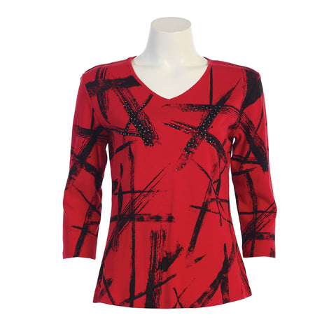 "Jess & Jane ""Stellar"" Abstract Print V-Neck Top in Red -15-1117-RD - Sizes S, 1X & 2X Only"