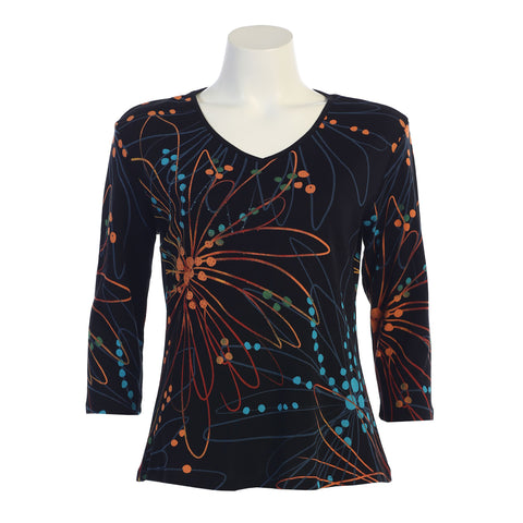 "Jess & Jane ""Freedom"" V-Neck Cotton Top in Multi - 15-1124-BK - Sizes S - XL Only"