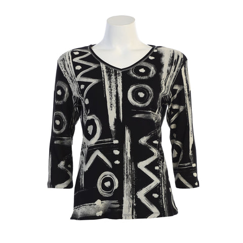 "Jess & Jane ""Puzzle"" Abstract V-Neck Cotton Top in Black/White - 15-1143-BK"