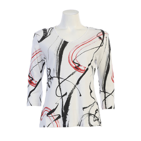 "Jess & Jane ""Matilda"" Abstract Print V-Neck Top - Black/Red on White - 15-1247-WT"