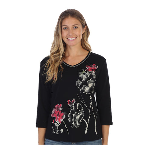 "Jess & Jane ""Eastern Bloom"" Abstract Floral Print Top - 15-1304BK"