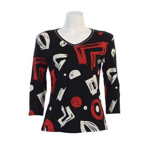 "Jess & Jane ""Geo Play"" Abstract Print Top - Black/Red/White - 15-1320-BK"