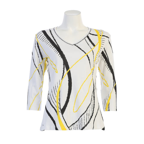 "Jess & Jane ""Swing"" Abstract Print V-Neck Top in Yellow/Black on White - 15-1321-WT"