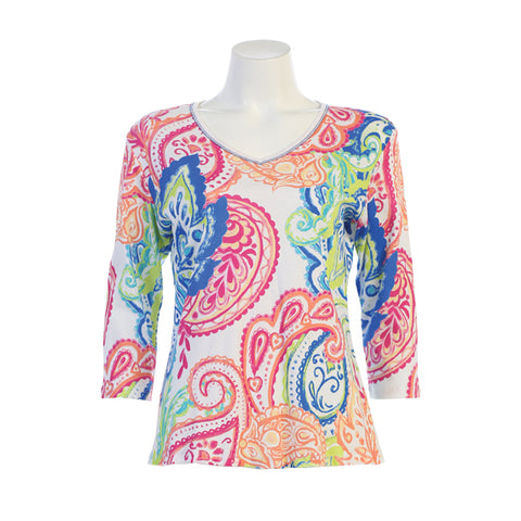 "Jess & Jane ""Fanning""  Paisley Print Top  in Multi/White- 15-1329"