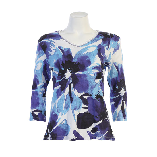 "Jess & Jane ""Tahoe"" Abstract Floral Print Top in Blue/White- 15-1331-WT"