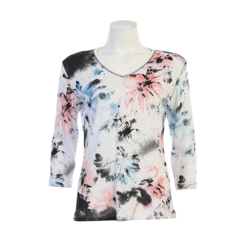 "Jess & Jane ""Riddle"" Abstract Floral Print Top in Pink/Blue  on White - 15-1334-WT"