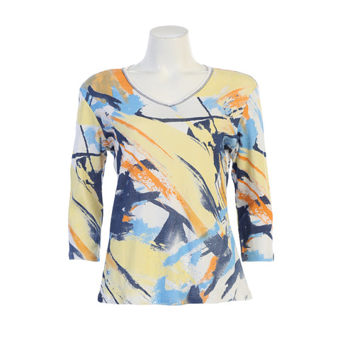 "Jess & Jane ""Arizona"" Abstract Print V-Neck Top- 15-1335-WT - Size 3X Only"