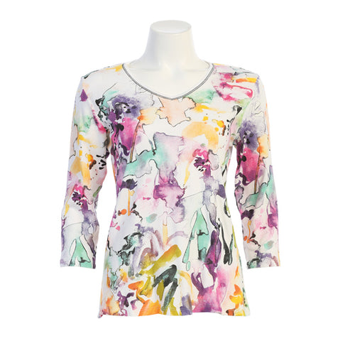 "Jess & Jane ""Fanciful"" Abstract Print V-Neck Top in White/Multi - 15-1372WT"