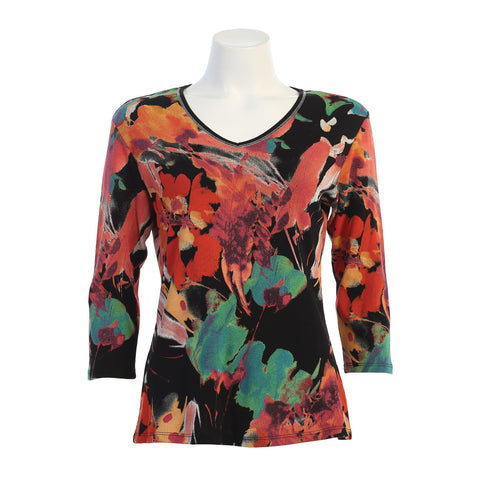 "Jess & Jane ""Love Song"" Abstract Print Top in Multi/Black - 15-1405-BK"