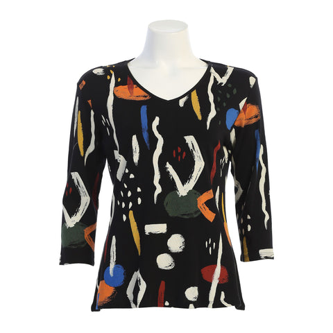 "Jess & Jane ""Surprise"" Abstract Print Top in Multi - 15-1411-BK"