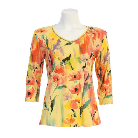 "Jess & Jane ""Florafest"" Print V Neck Top in Lemon - 15-1482LEM"