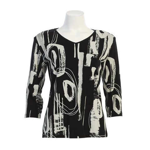 "Jess & Jane ""Contempo"" Abstract Print V Neck Top in Black/White - 15-1495BK"