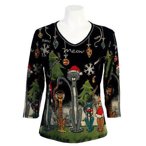 "Jess & Jane ""Meow Christmas"" V Neck Top in Black  15-373-BLK - Size 1X Only"