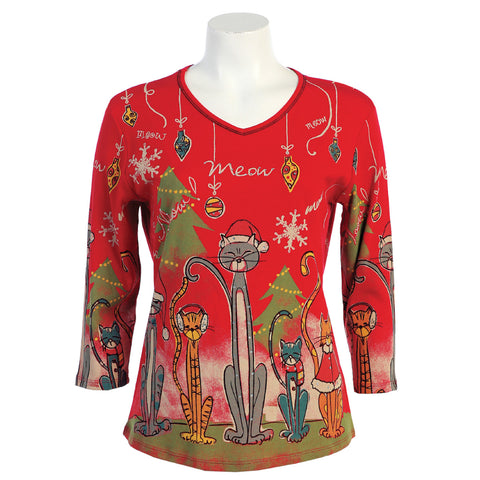 "J & J ""Meow Christmas"" V-Neck Top in Red/Multi  15-373-RD - Sizes L, XL, 1X & 3X Only"