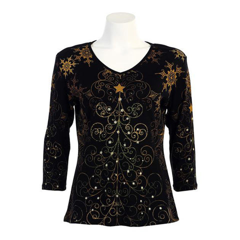 "Jess & Jane ""Christmas Star"" V-Neck Top - 15-811"