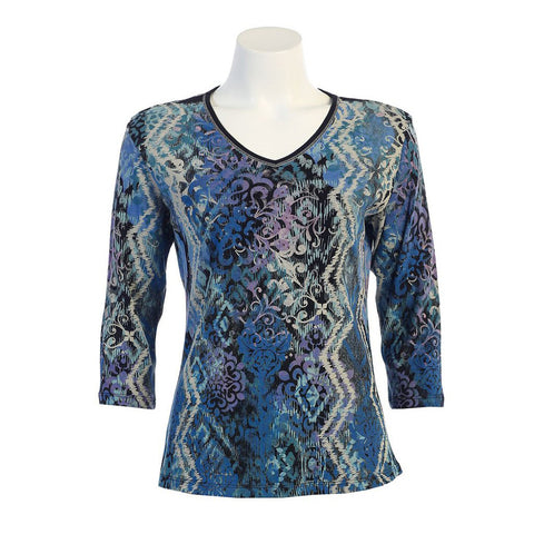 "Jess & Jane ""Snow Path"" V-Neck Top in Multi -15-943-BK - Sizes 1X & 2X Only"