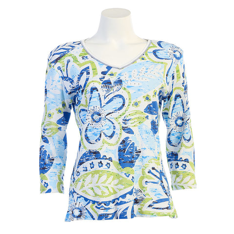 "Jess & Jane ""Simply"" Top in White/Blue 15-992WT"
