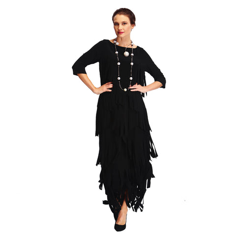IC Collection Fringed Top in Black - 1501T