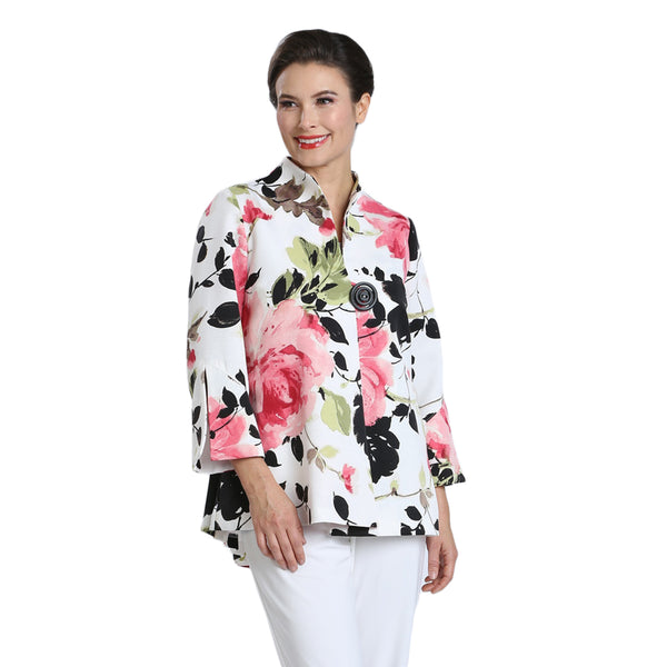 IC Collection Floral-Print Accordian Back Jacket in Pink/Multi - 1502J-PNK