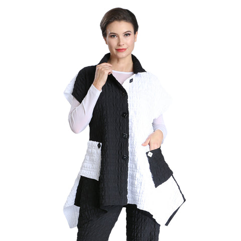 IC Collection Textured Jacket in White/Black - 1509T-BWHT
