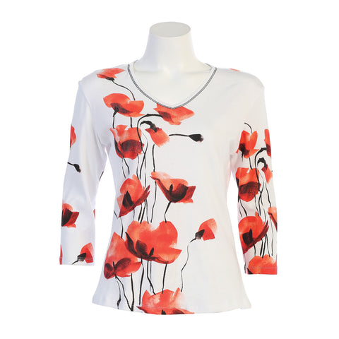 "Jess & Jane ""Poppy Flowers"" V-Neck Top in White 15-1053WT"